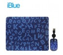 KIT PAD + MOUSE IBLUE RETRACTIL USB LETTERS COLLAGE (PN XMK-886-LC)